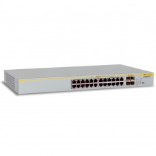 Allied Telesis Layer 2 switch with 24-10/100/1000Base-T ports plus 4 active SFP slots (unpopulated)