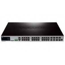 D-Link DGS-3420-28PC 24-ports PoE 10/100/1000Base-T L2+ Stackable Management Switch with 4 Combo ports 10/100/1000Base-T/SFP and 4-ports SFP+