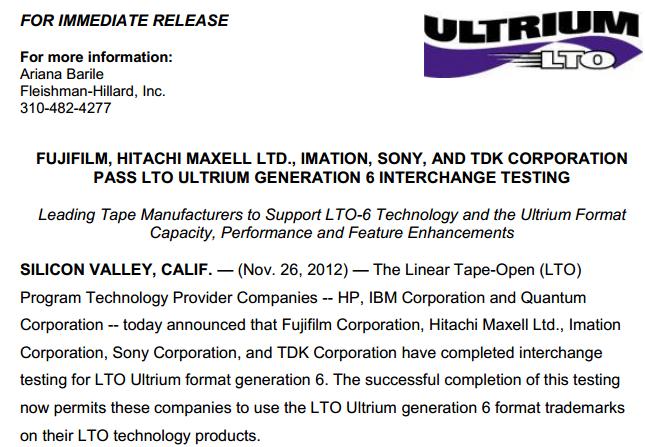 Текст пресс-релиза об анонсе LTO-6 на сайте ultrium.com
